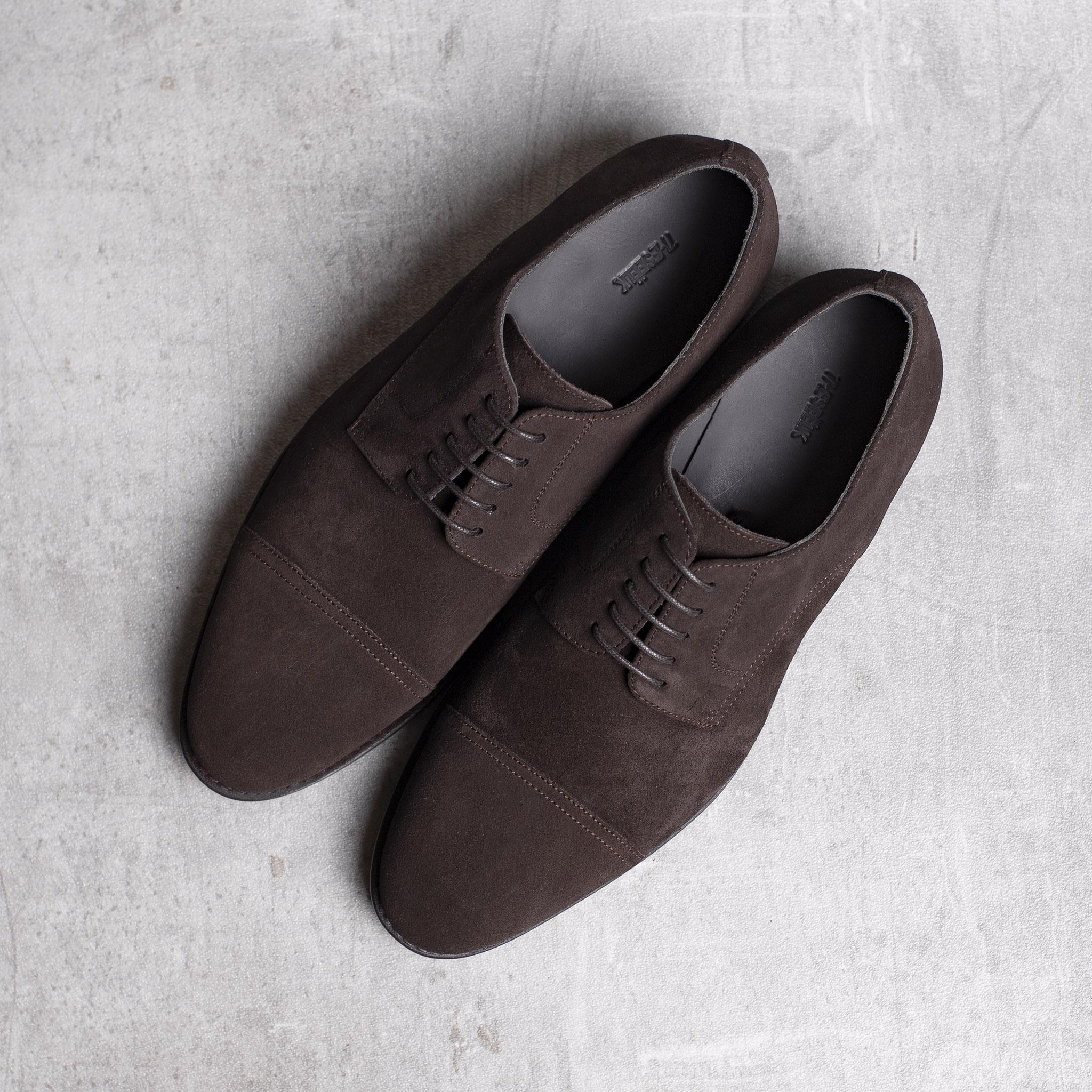 DERBY · 0649 Split Suede leather dark brown The Seëlk 1