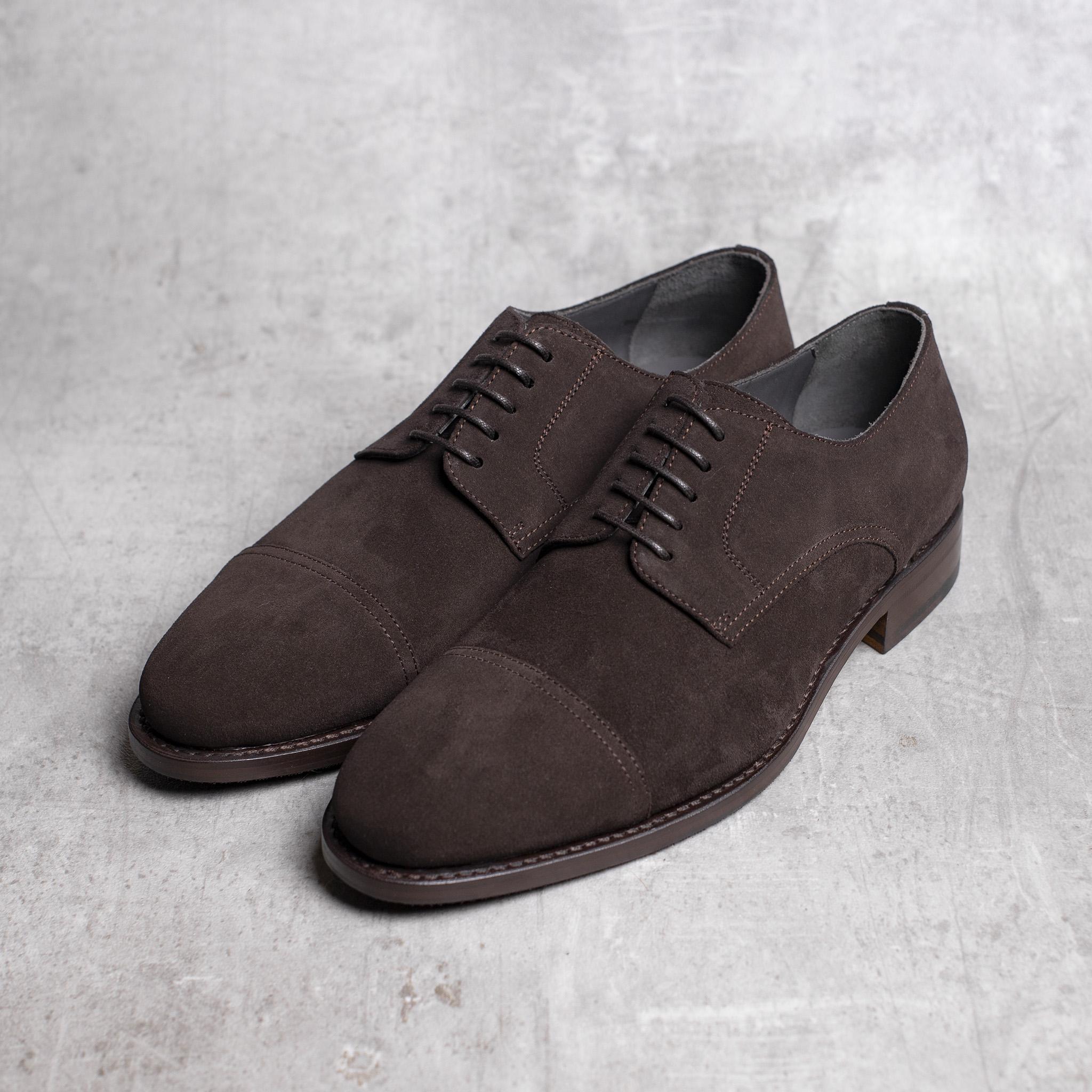DERBY · 0649 Split Suede leather dark brown The Seëlk 2