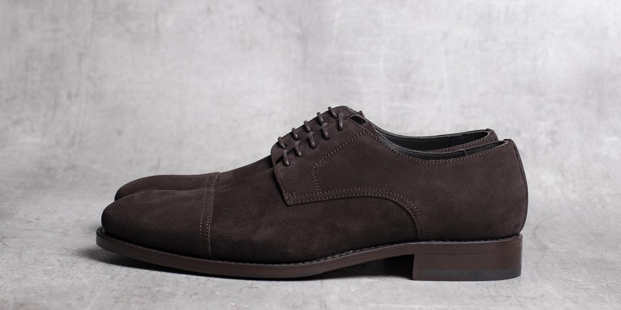 DERBY · 0649 Split Suede leather dark brown The Seëlk 3