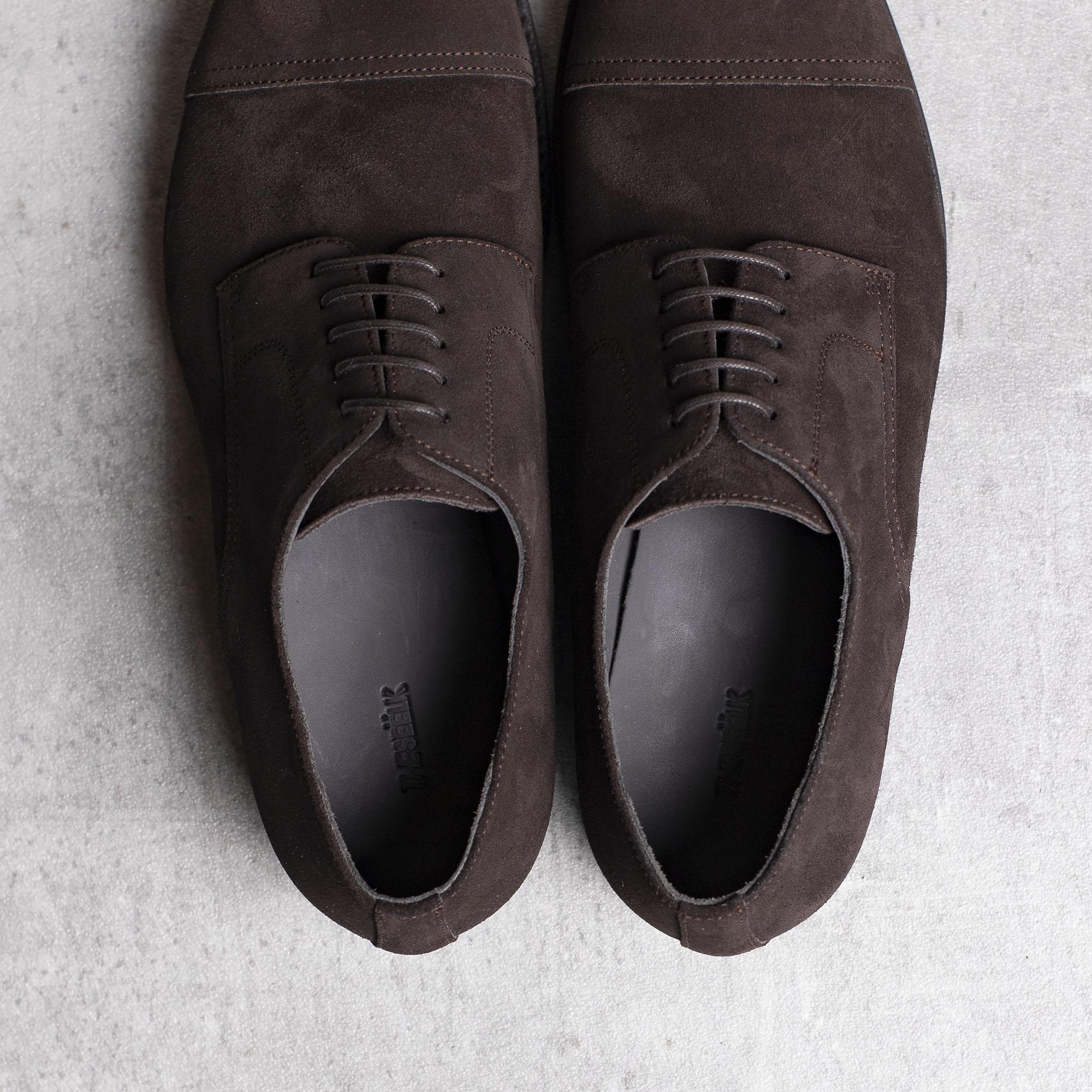 DERBY · 0649 Split Suede leather dark brown The Seëlk 4