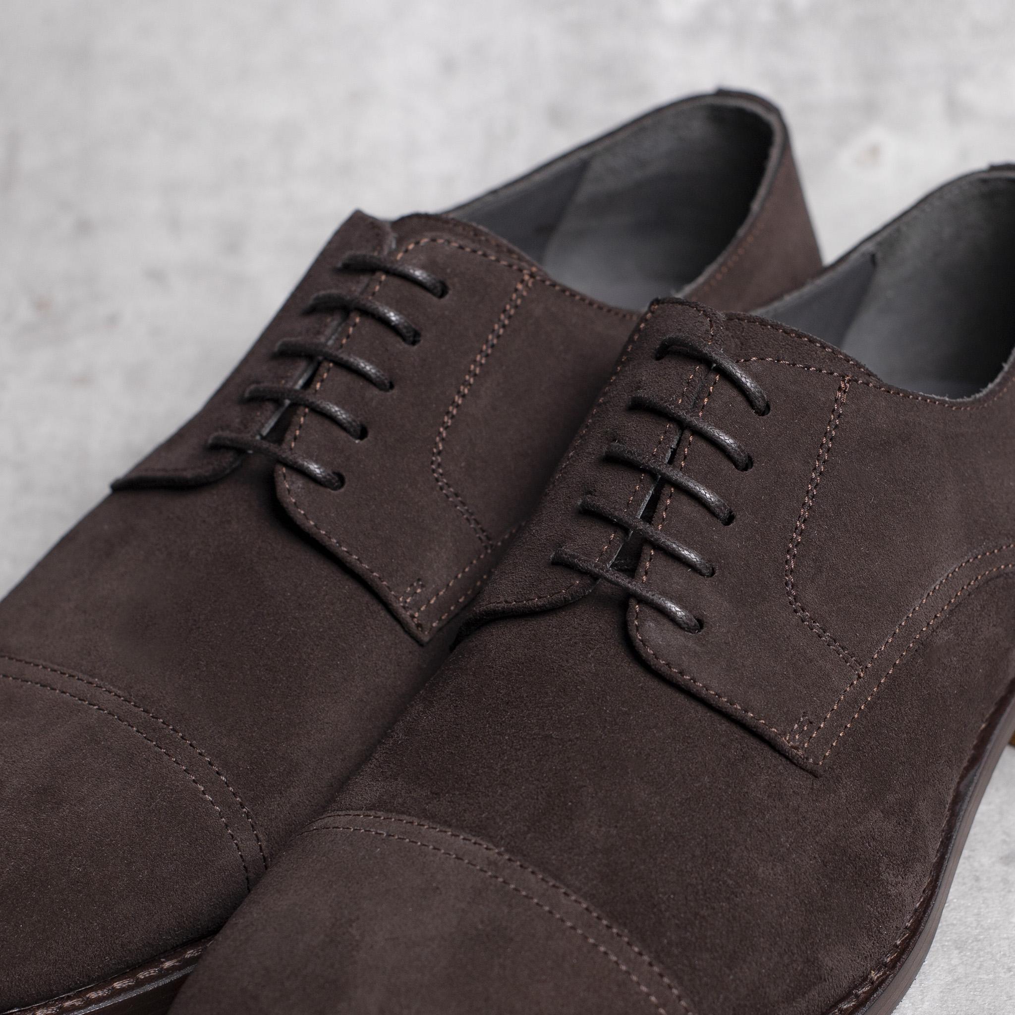 DERBY · 0649 Split Suede leather dark brown The Seëlk 5