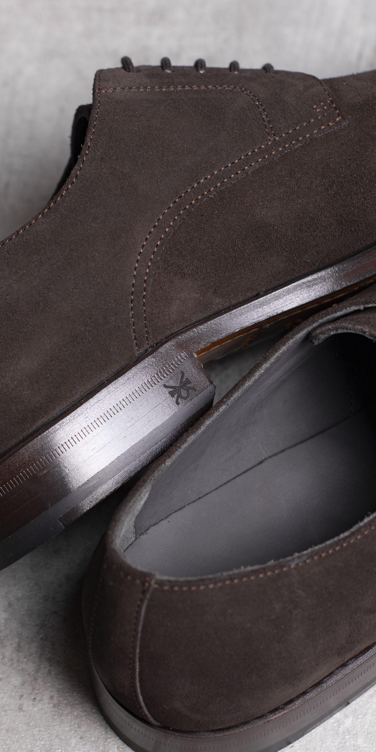 DERBY · 0649 Split Suede leather dark brown The Seëlk 6